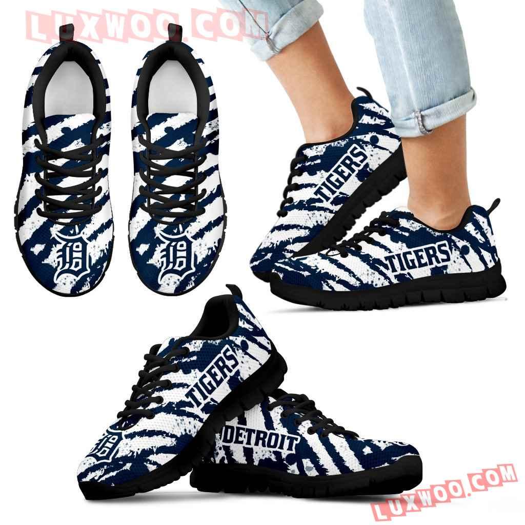 Stripes Pattern Print Detroit Tigers Sneakers V3