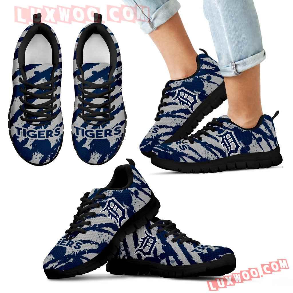 Stripes Pattern Print Detroit Tigers Sneakers