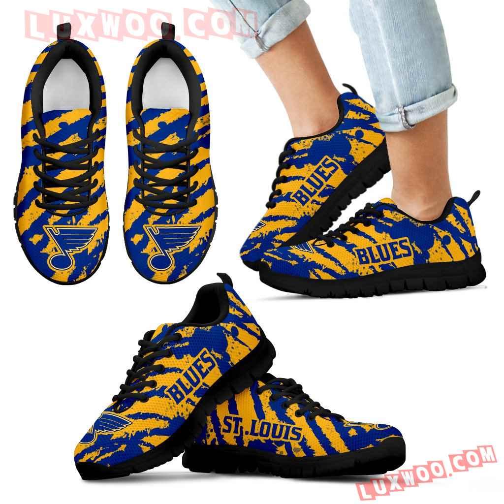Stripes Pattern Print St Louis Blues Sneakers V3