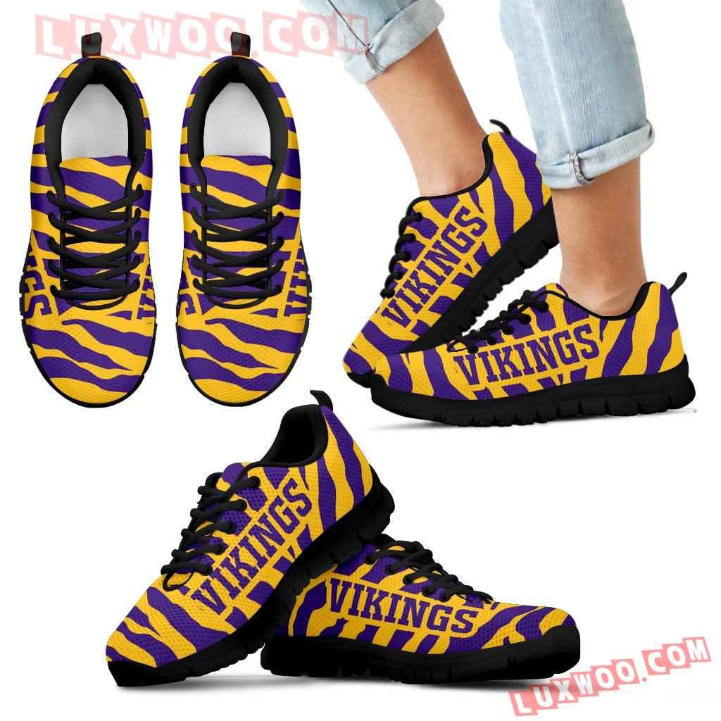 Tiger Skin Stripes Pattern Print Minnesota Vikings Sneakers