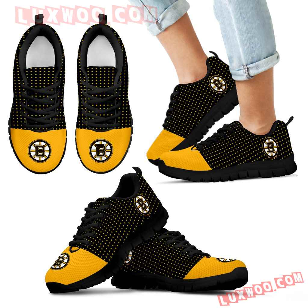 Tiny Cool Dots Background Mix Lovely Logo Boston Bruins Sneakers