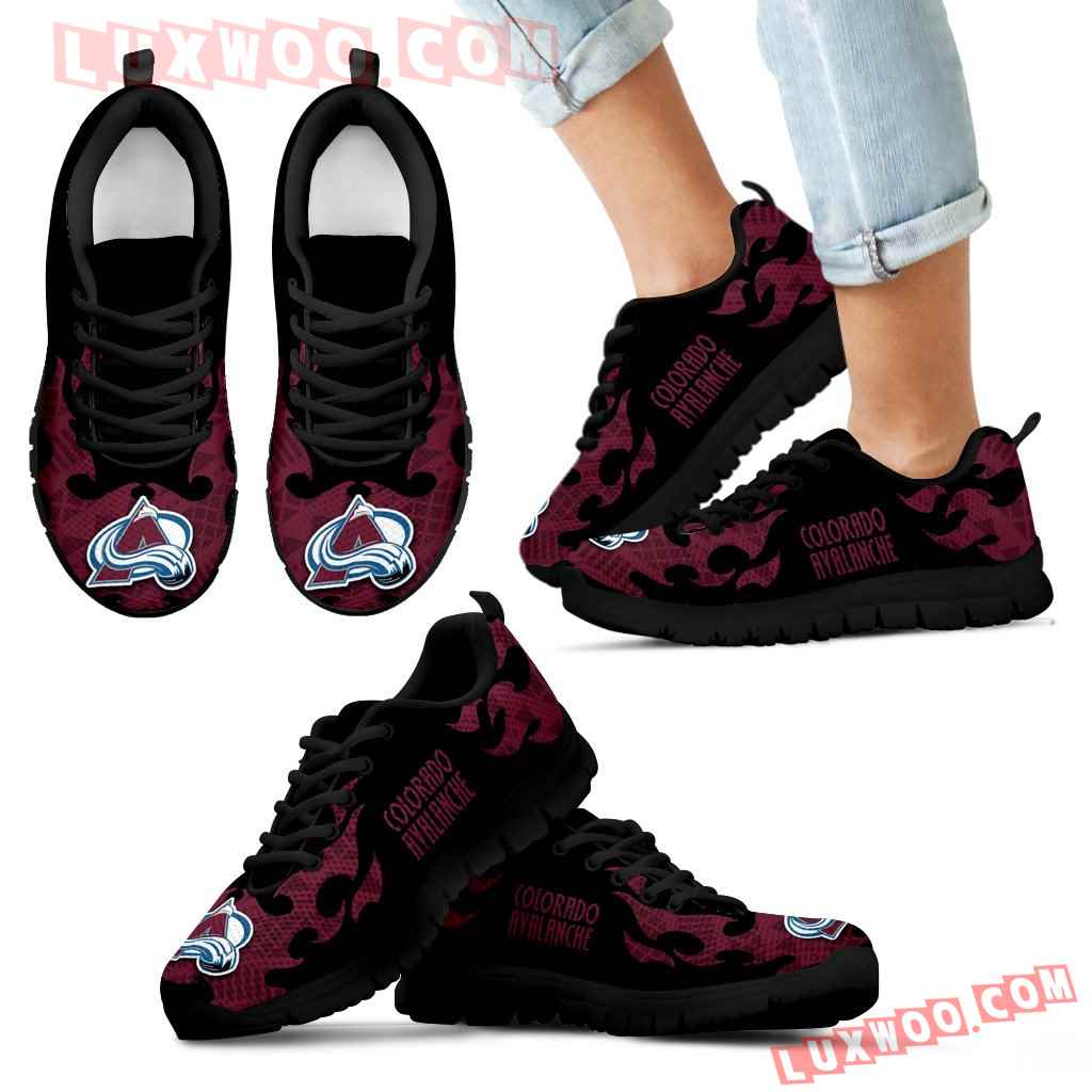 Tribal Flames Pattern Colorado Avalanche Sneakers