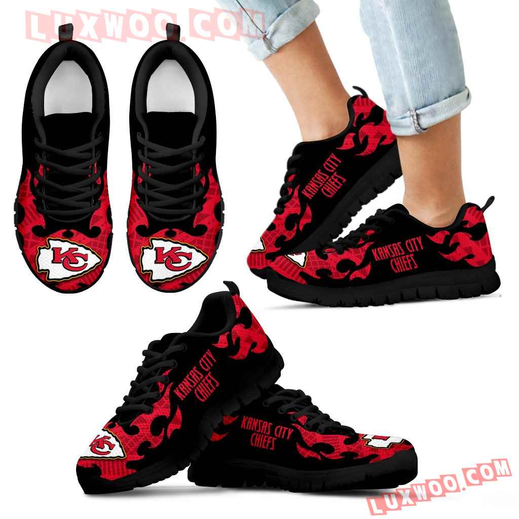 Tribal Flames Pattern Kansas City Chiefs Sneakers