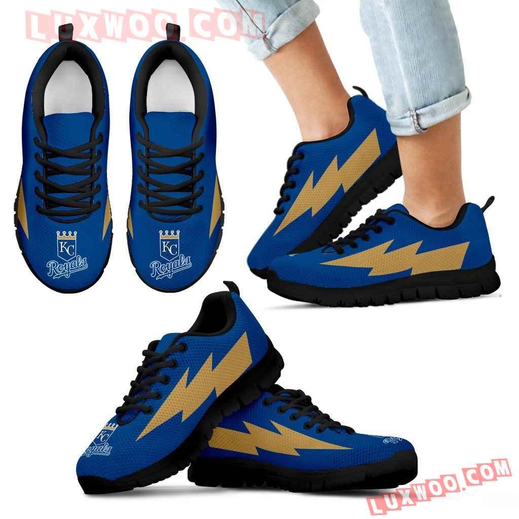 Unique Kansas City Royals Sneakers Thunder Lightning Amazing Logo