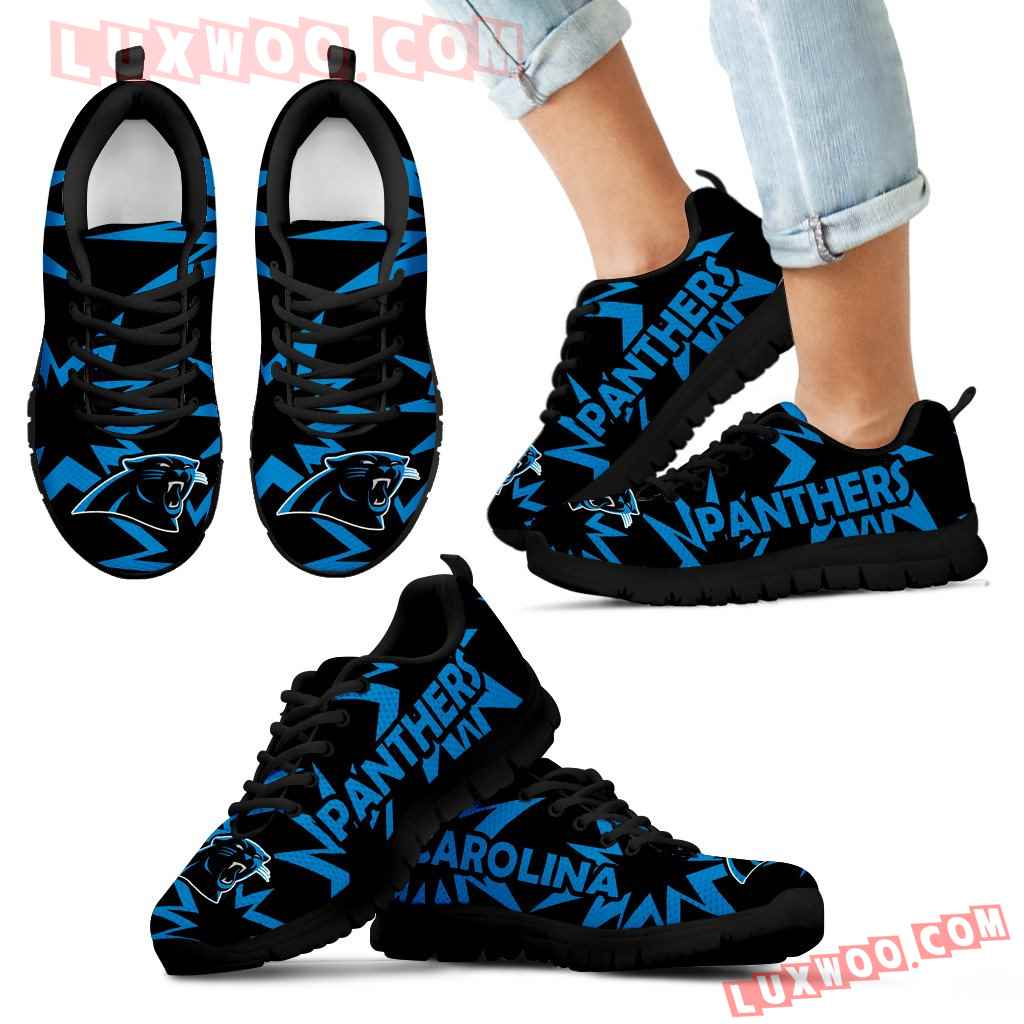 Zig Zag Circle Dizzy Excellent Nice Logo Carolina Panthers Sneakers
