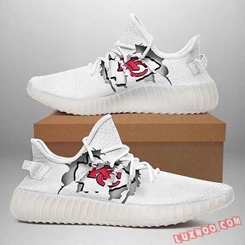 Kansas City Chiefs Ripped White Running Shoes Yeezy Sneaker