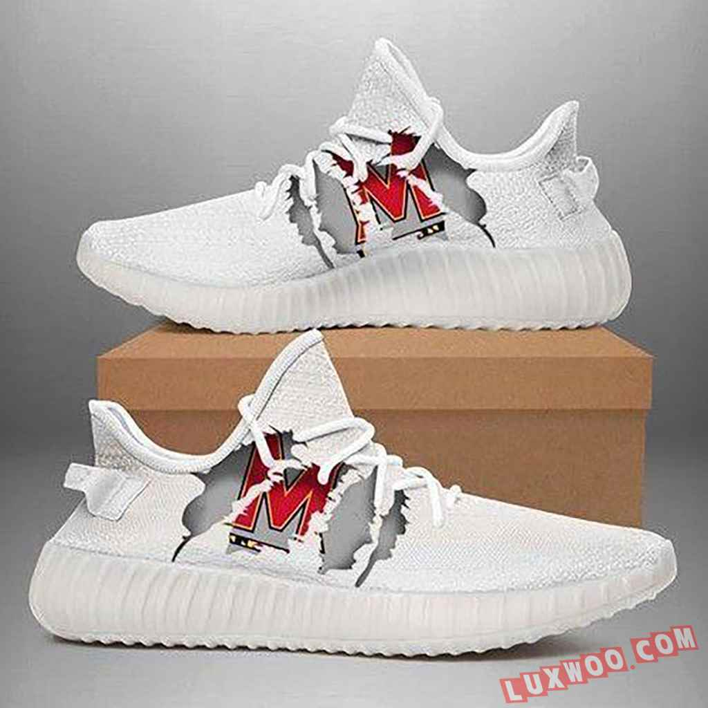 Maryland Terrapins Ripped White Running Shoes Yeezy 350v2 Sneaker