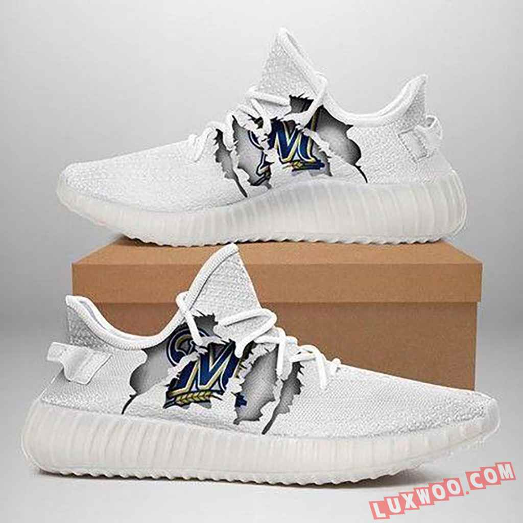 Milwaukee Brewers Ripped White Running Shoes Yeezy 350v2 Sneaker