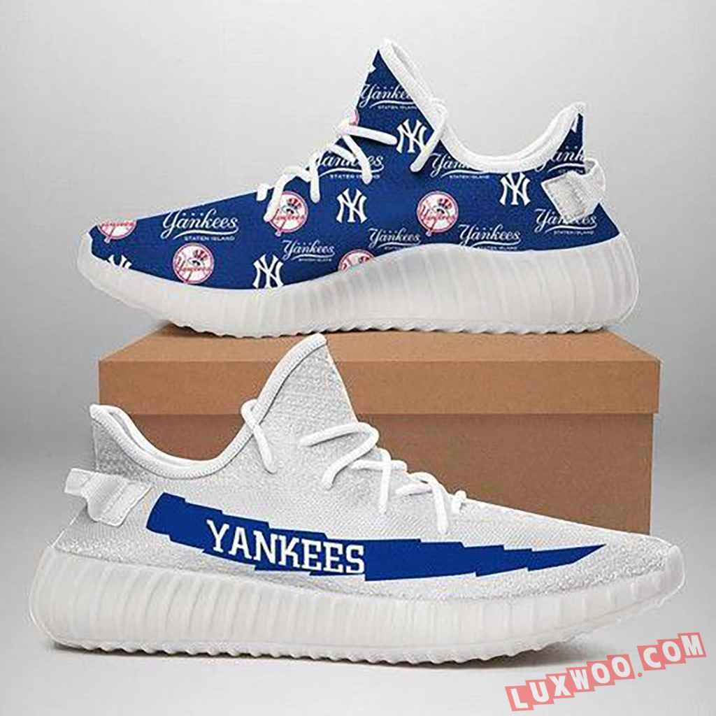 New York Yankees Adidas Yeezy Boost 350 V2 Cream Triple White