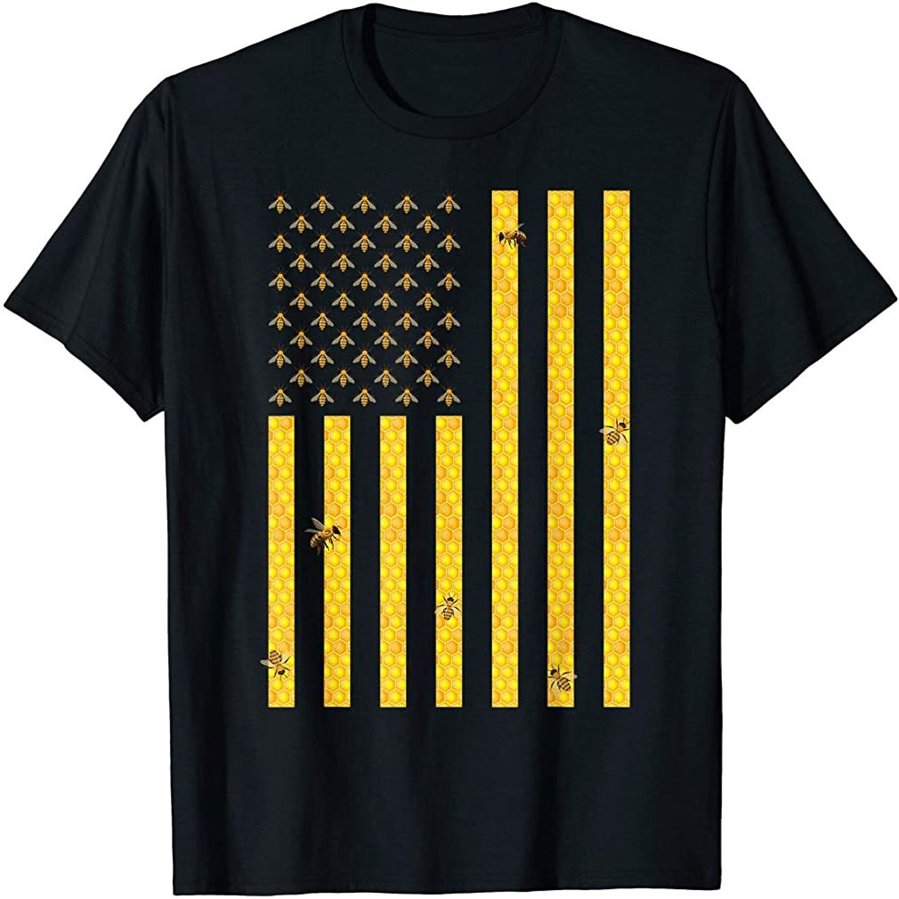 American Flag Honeycomb Honey Bee Beekeeping Beekeeper Gift T-shirt Plus Size Up To 5xl