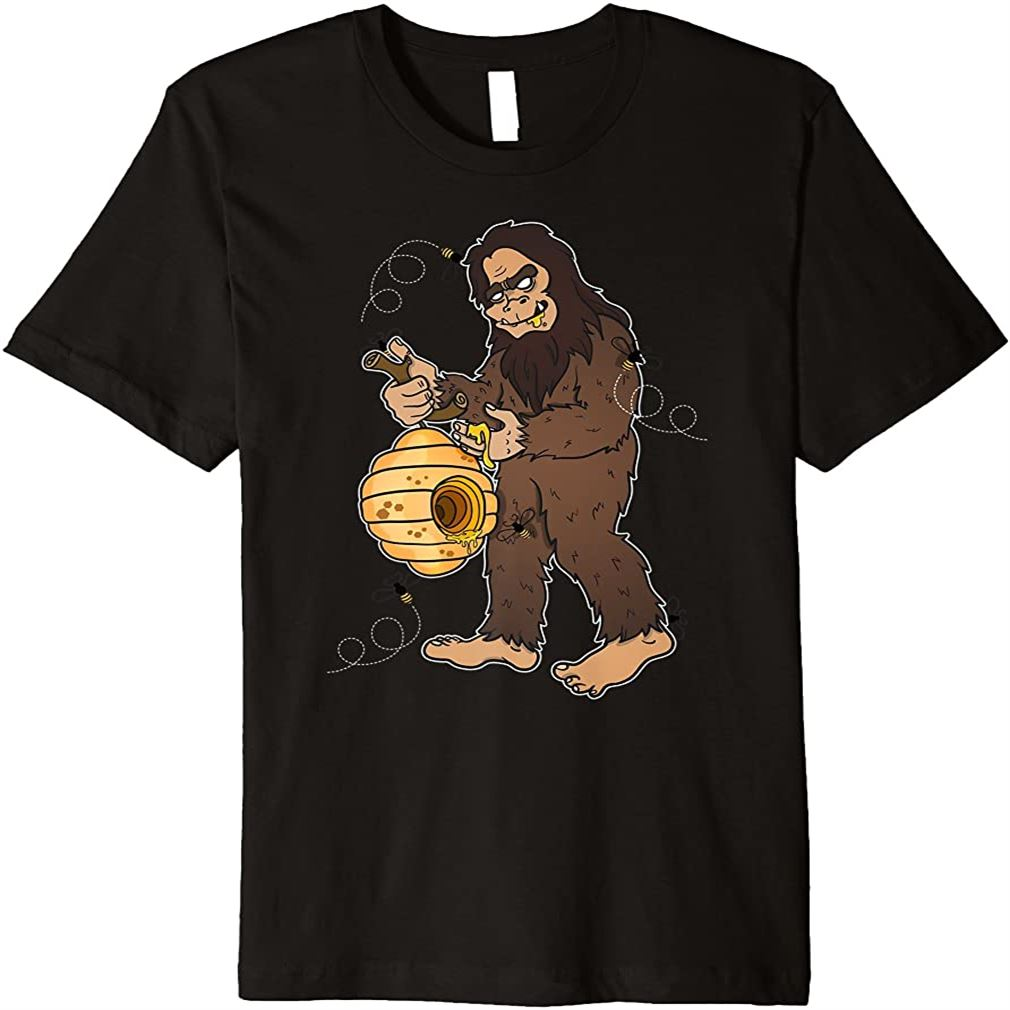 Bigfoot Eating Honey Bee Lover Funny Gift T-shirt Size Up To 5xl