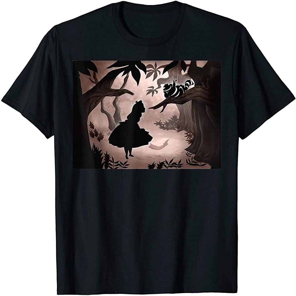 Alice In Wonderland Alice And Cheshire Cat Silhouette T-shirt Plus Size Up To 5xl
