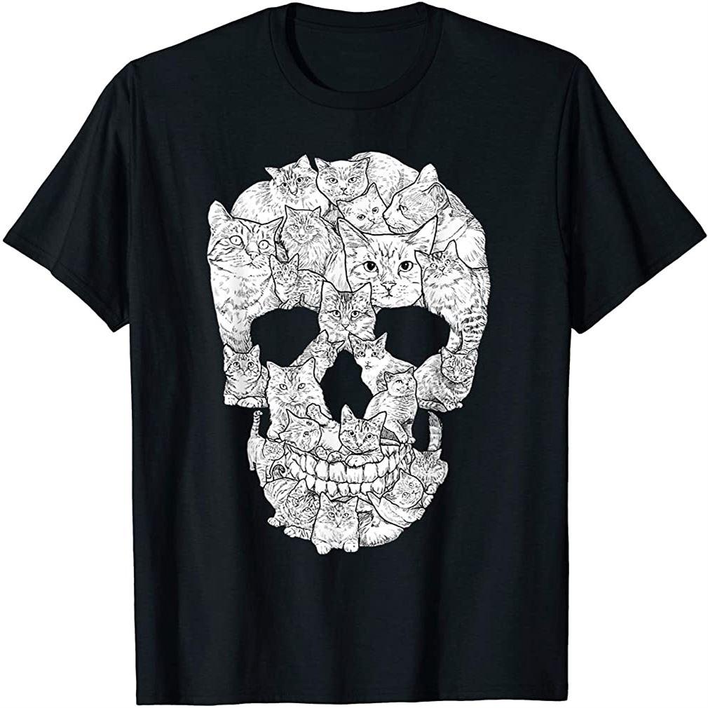 Cat Skull T-shirt - Kitty Skeleton Halloween Costume Idea Size Up To 5xl