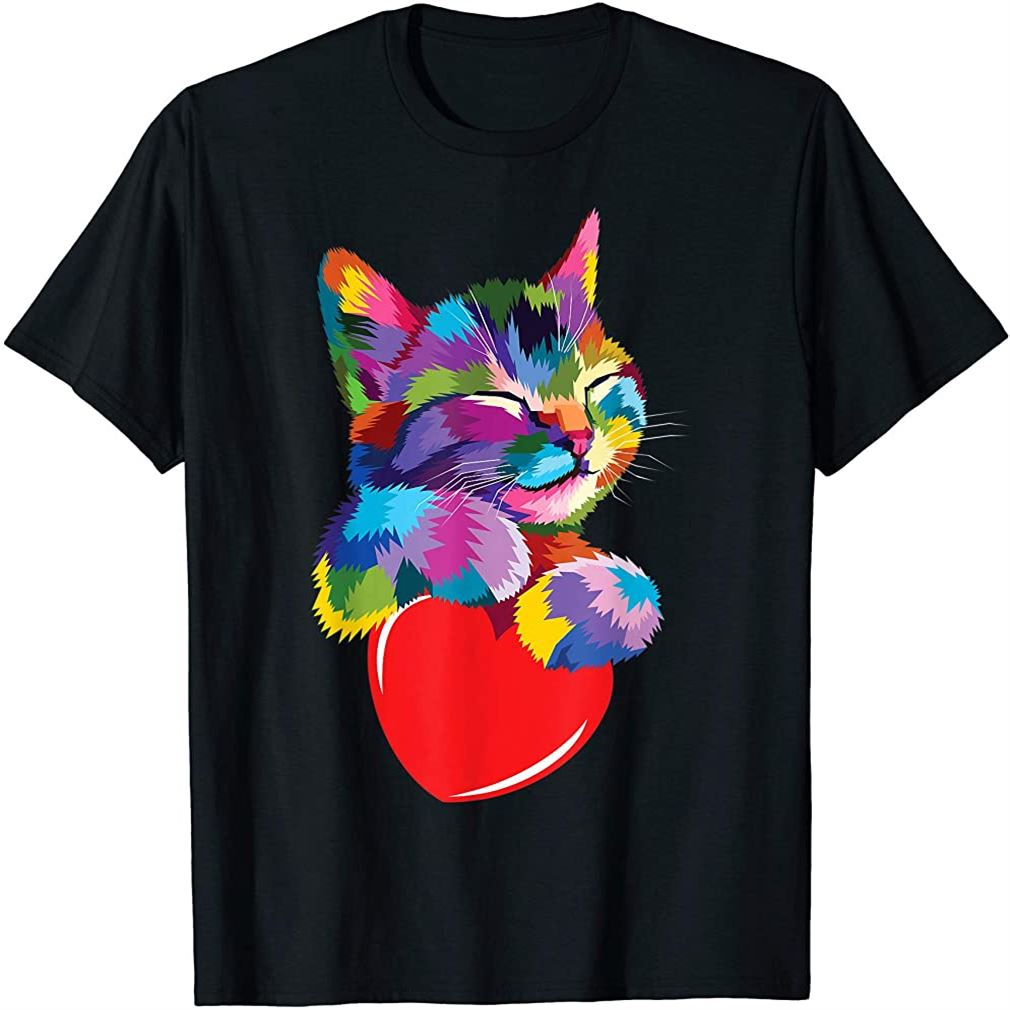 Cute Cat Gift For Kitten Lovers Colorful Art Kitty Adoption T-shirt Plus Size Up To 5xl