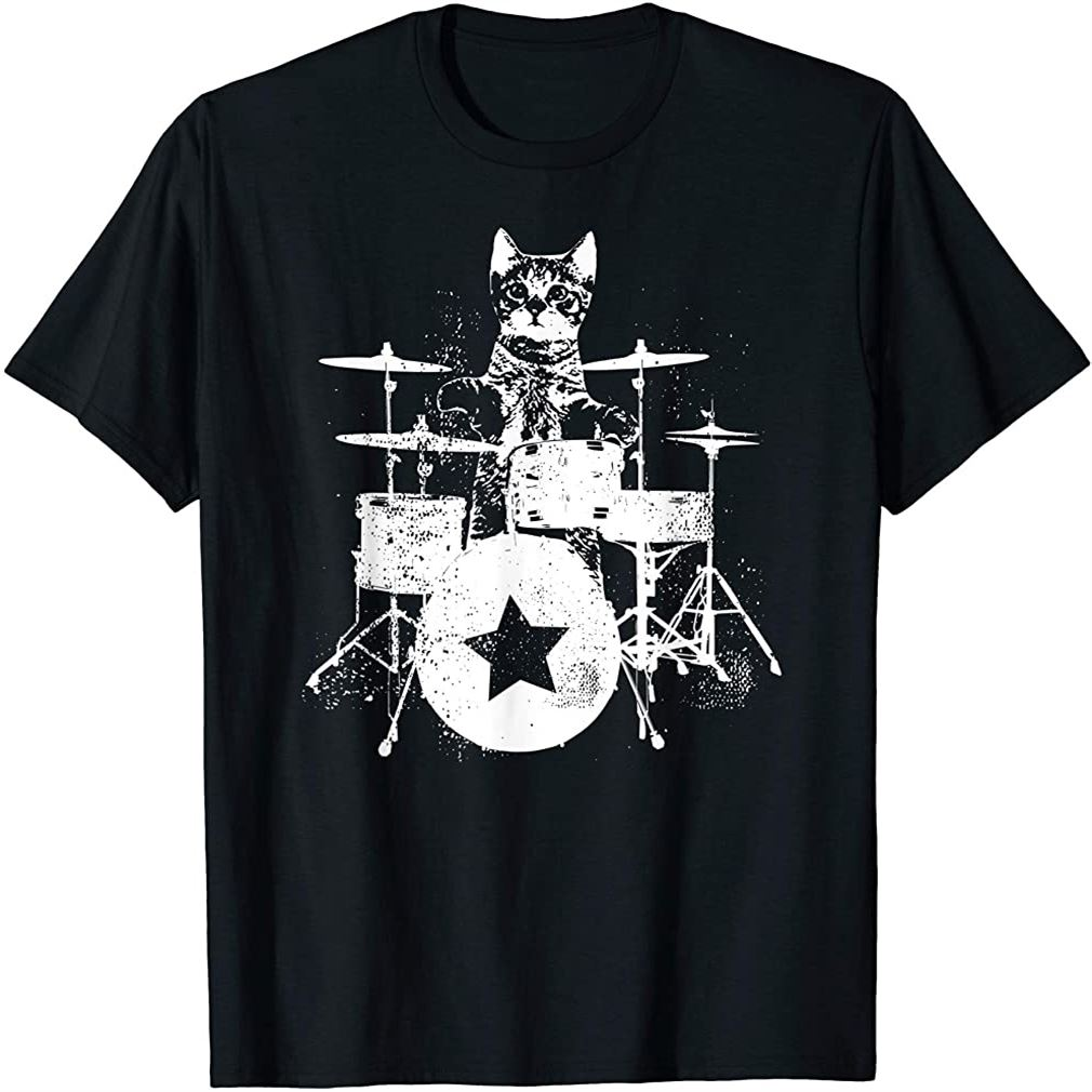 Punk Rockstar Kitten Kitty Cat Drummer Playing Drums Graphic T-shirt Plus Size Up To 5xl