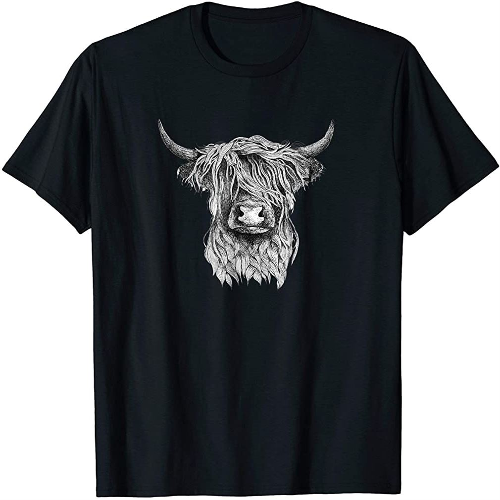Highland Cow - Hand Drawn Illustration T-shirt Size Up To 5xl