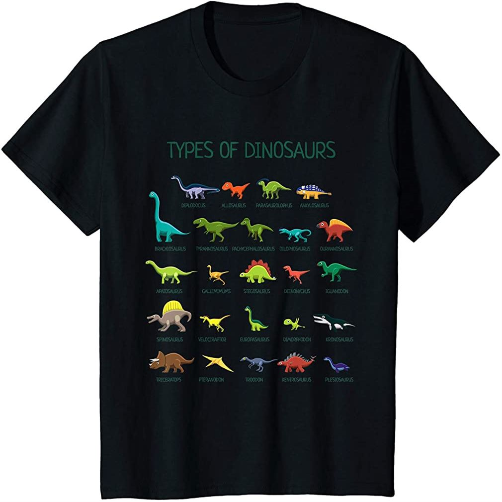 Kids Types Of Dinosaurs Dino Identification T-shirt Plus Size Up To 5xl