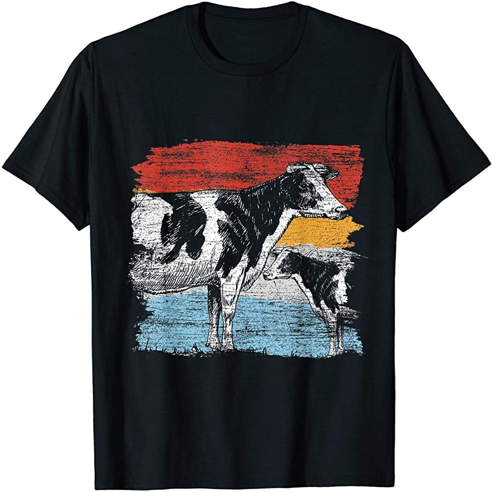 Retro Cow T-shirt Size Up To 5xl