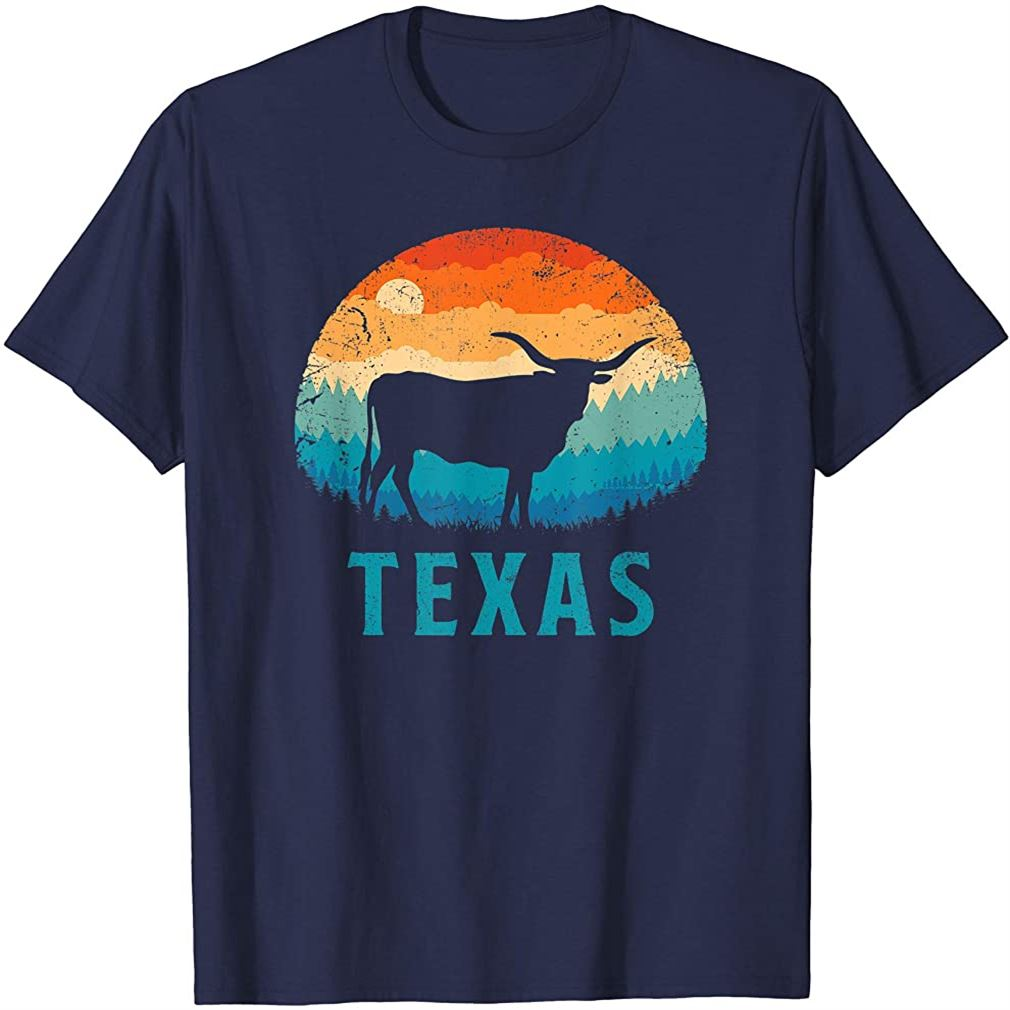 Texas Longhorn Cow Vintage Texan Cattle Herd Retro Lone Star T-shirt Size Up To 5xl