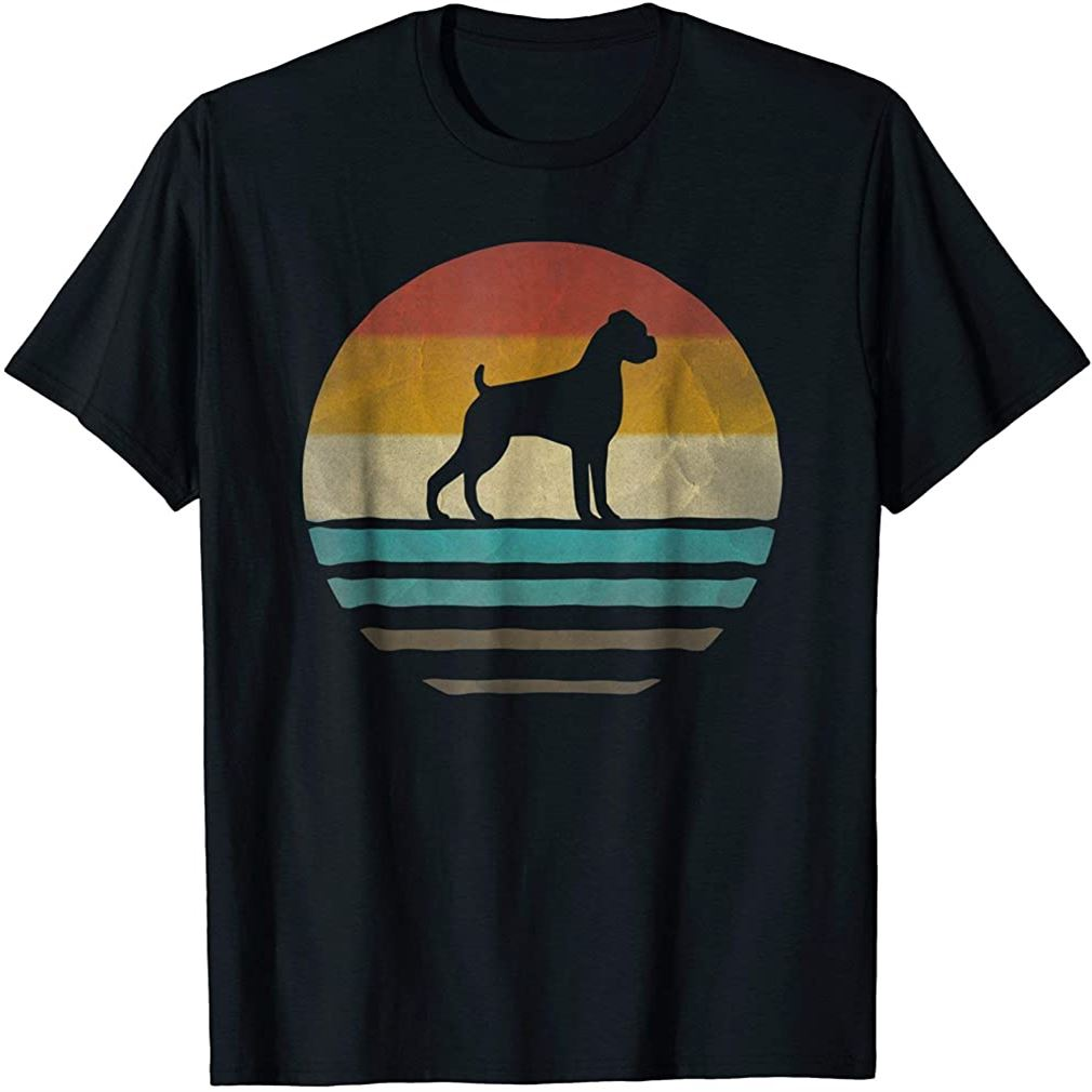 Boxer Dog Shirt Retro Vintage 70s Silhouette Breed Gift Size Up To 5xl