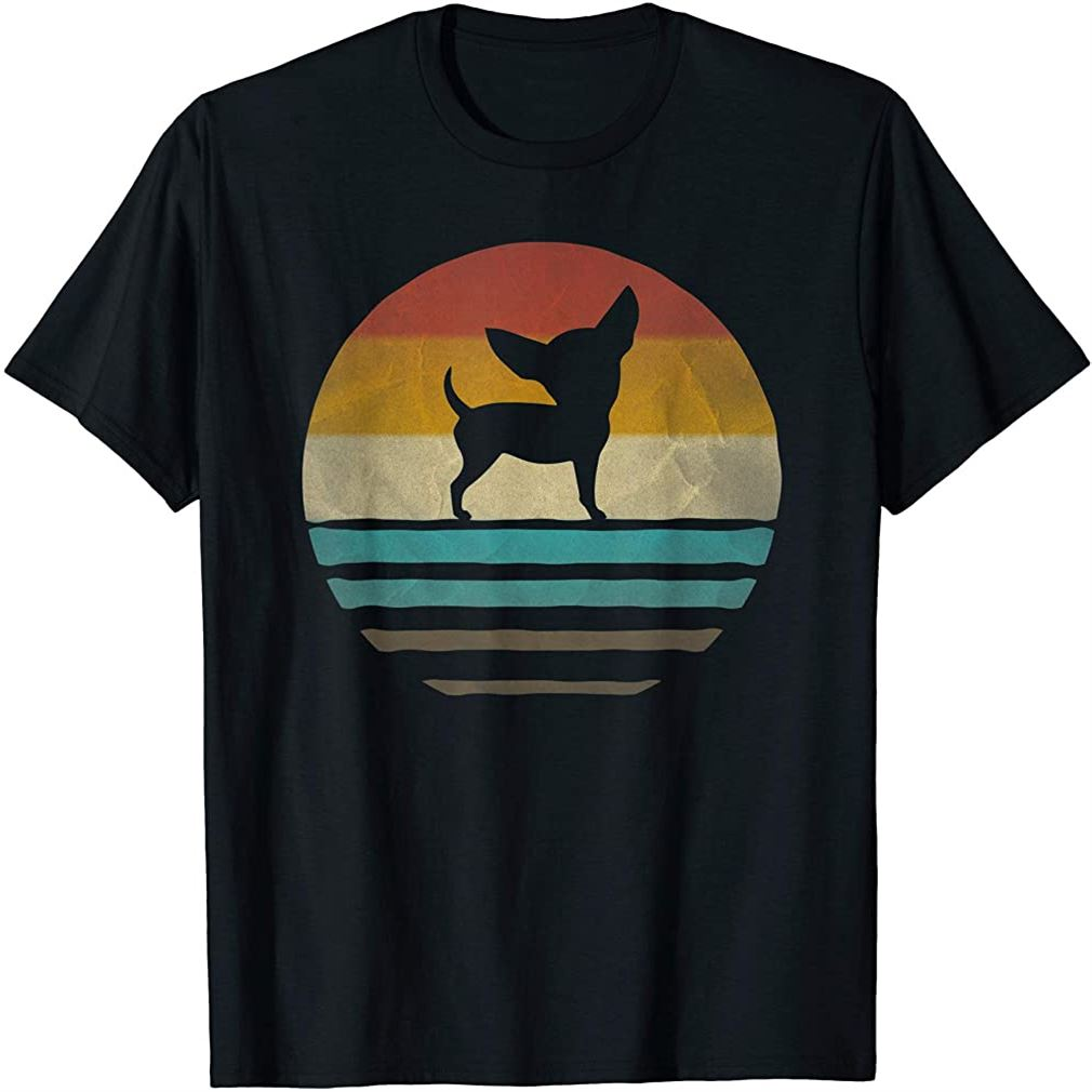 Chihuahua Dog Retro Vintage 60s 70s Silhouette Breed Gift T-shirt Size Up To 5xl