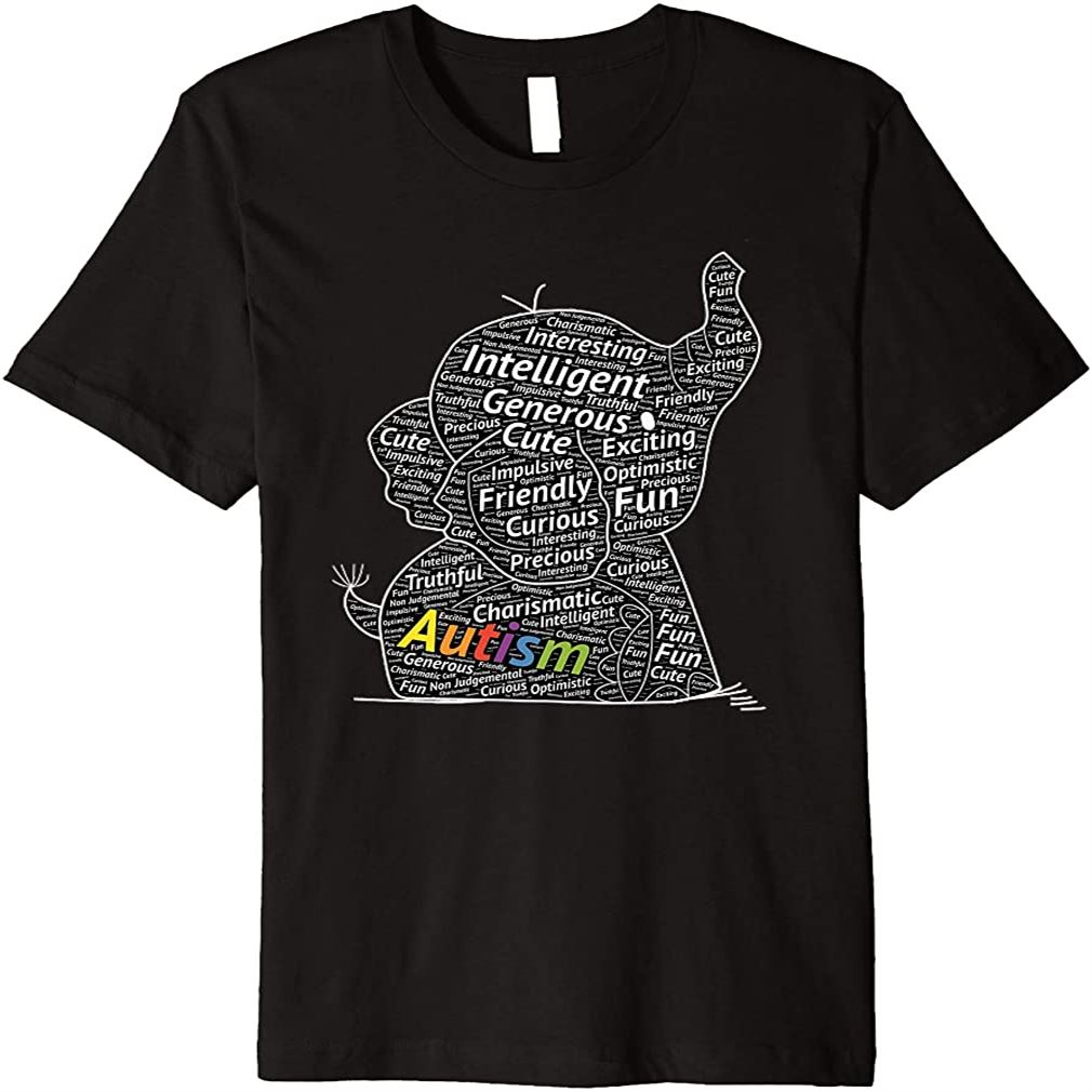 Cute Support Autism Autistic Elephant Word Art Gift Premium T-shirt Plus Size Up To 5xl
