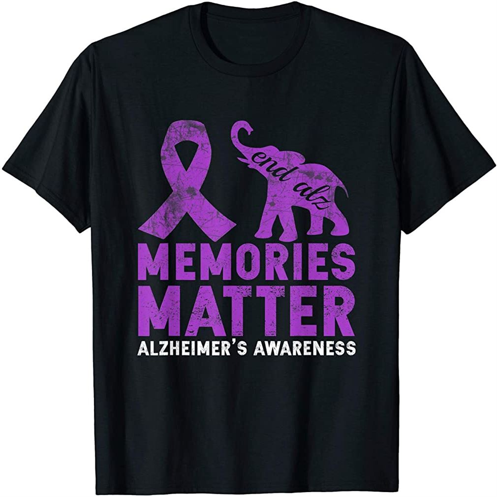 Memories Matter Alzheimer Shirt - Purple Elephant T-shirt Plus Size Up To 5xl