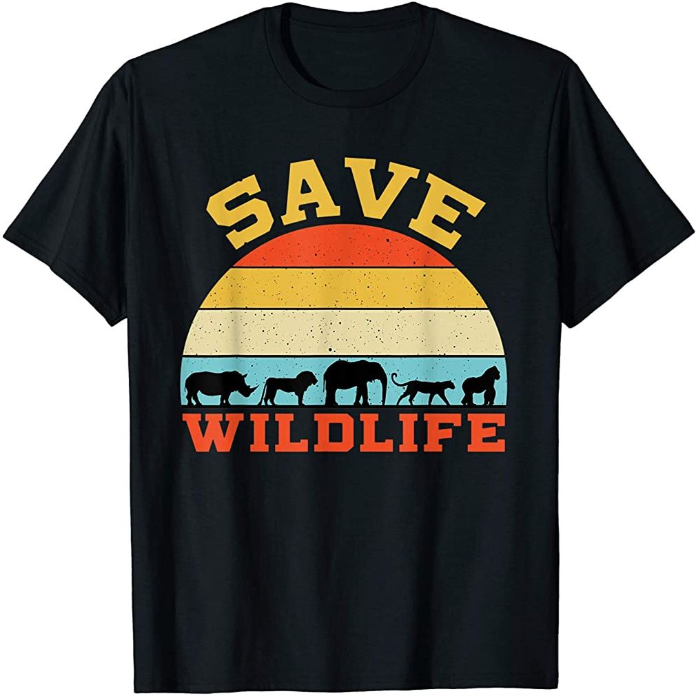 Save Wildlife Endangered Rhino Lion Elephant Tiger Gorilla T-shirt Size Up To 5xl