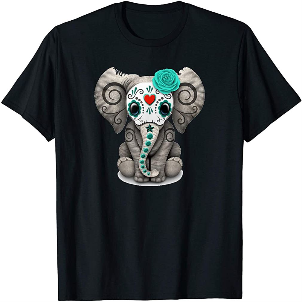 Sugar Skull Elephant T Shirt Day Of The Dead Halloween Shirt Size Up To 5xl