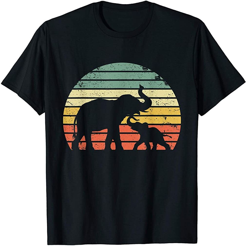 Vintage Elephant Shirt Retro Sunset Colors Silhouette T-shirt Plus Size Up To 5xl