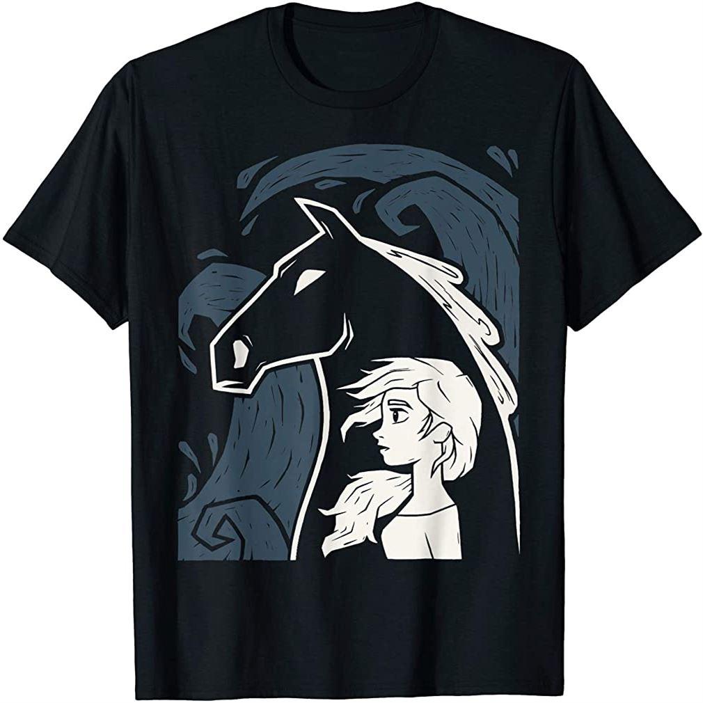 Frozen 2 Elsa Water Horse Portrait T-shirt Size Up To 5xl