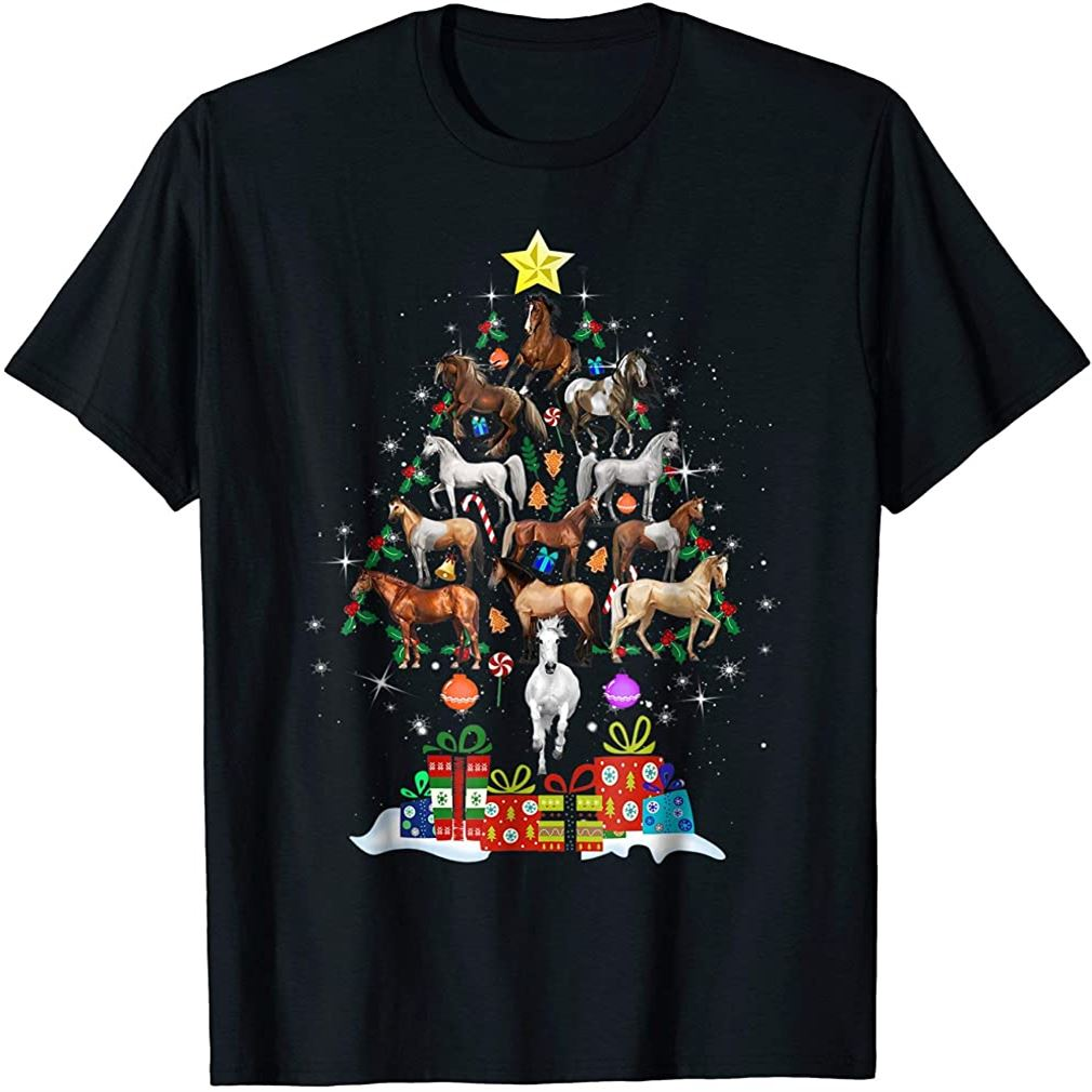 Horse Christmas Tree T-shirt For Men Women Kids Plus Size Up To 5xl