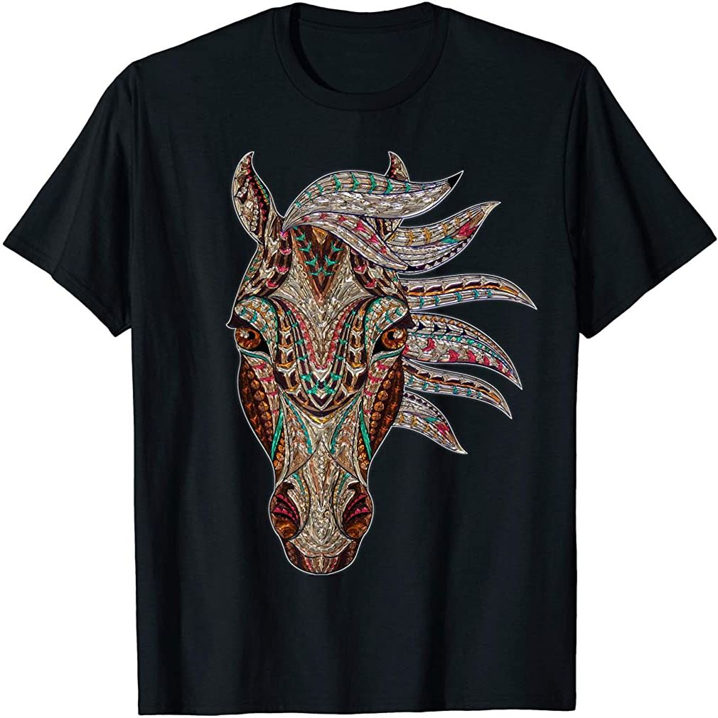 Horse Tribal Abstract Art Native American Geometric Horse T-shirt Plus Size Up To 5xl