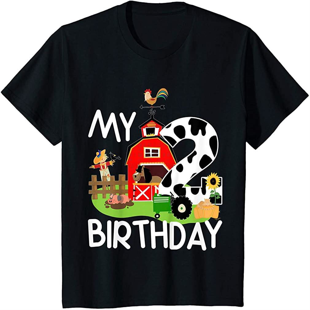 Kids 2nd Birthday Shirt Farm Tractor Pig Horse Cow Chicken Cat Size Up To 5xl