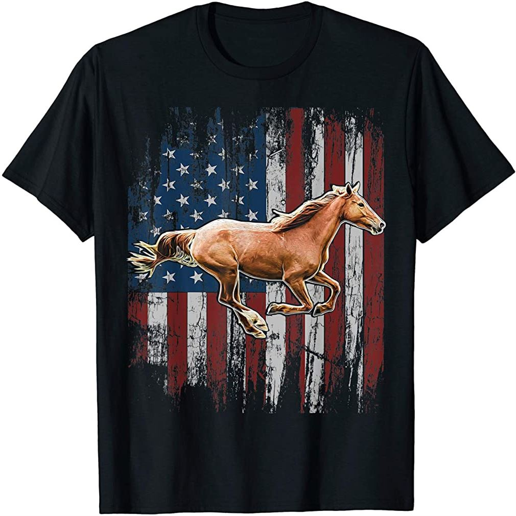 Patriotic Horse American Flag Horseback Riding Farm Gift T-shirt Size Up To 5xl