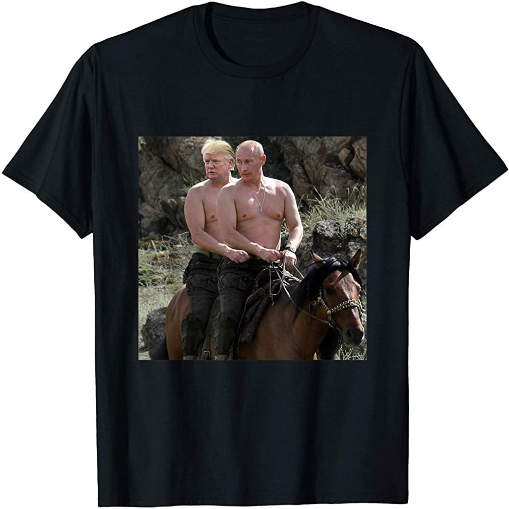 Putin Trump Riding Horse T-shirt Russia Tee Size Up To 5xl