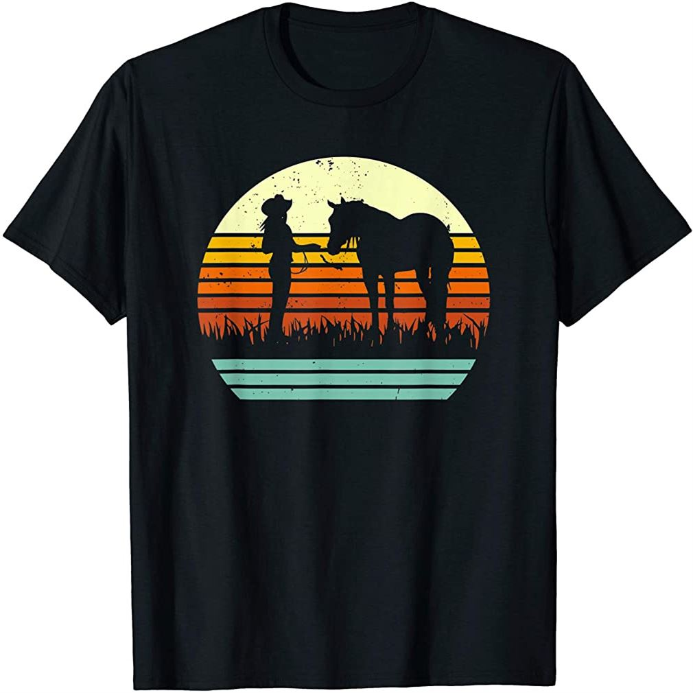 Western Halter Horse Retro Sun Style T-shirt Plus Size Up To 5xl