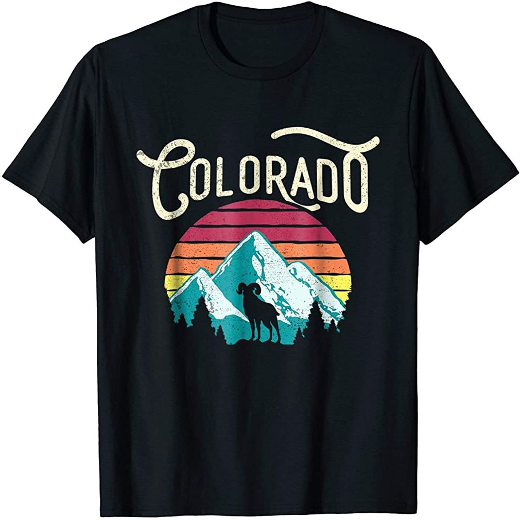 Retro Colorado Co Mountains Wildlife Bighorn Sheep T-shirt Size Up To 5xl