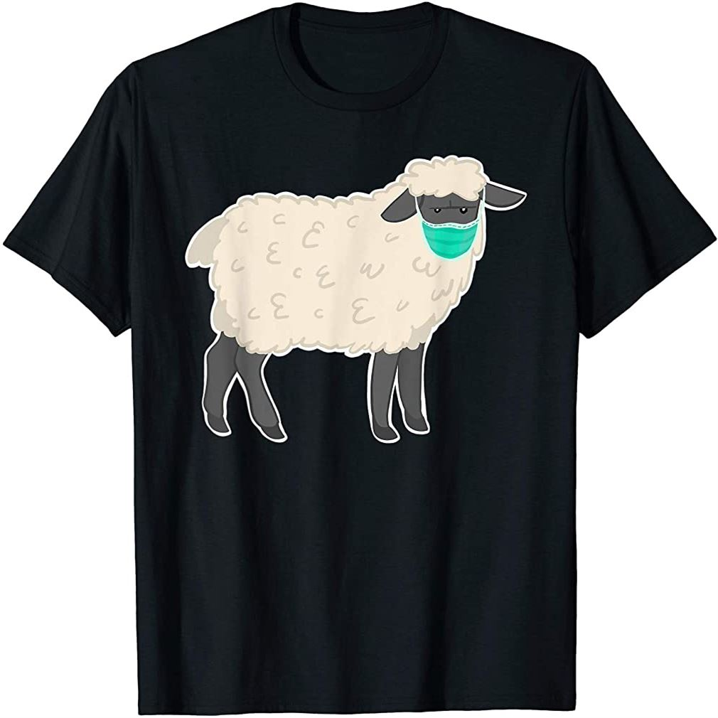Sheep With Face Mask T-shirt Size Up To 5xl