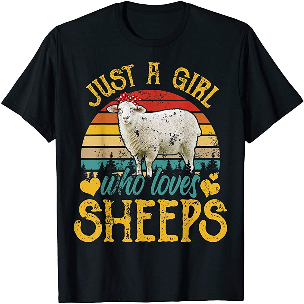 Vintage Just A Girl Who Loves Sheeps Funny Sheeps Lover Gift T-shirt Size Up To 5xl