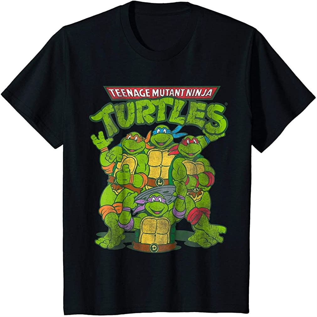 Kids Distressed Tmnt Group T-shirt Plus Size Up To 5xl