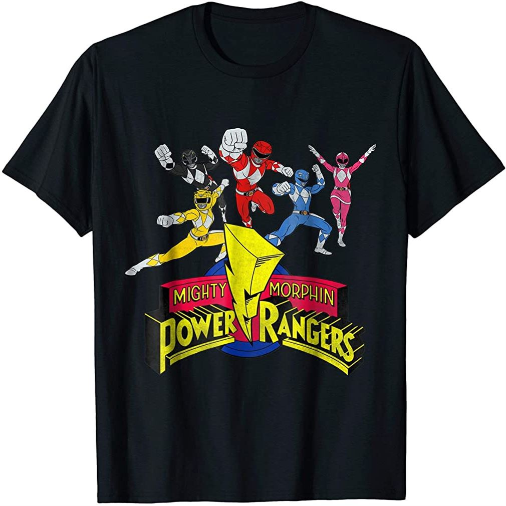 Mighty Morphin Power Rangers Group T-shirt Plus Size Up To 5xl