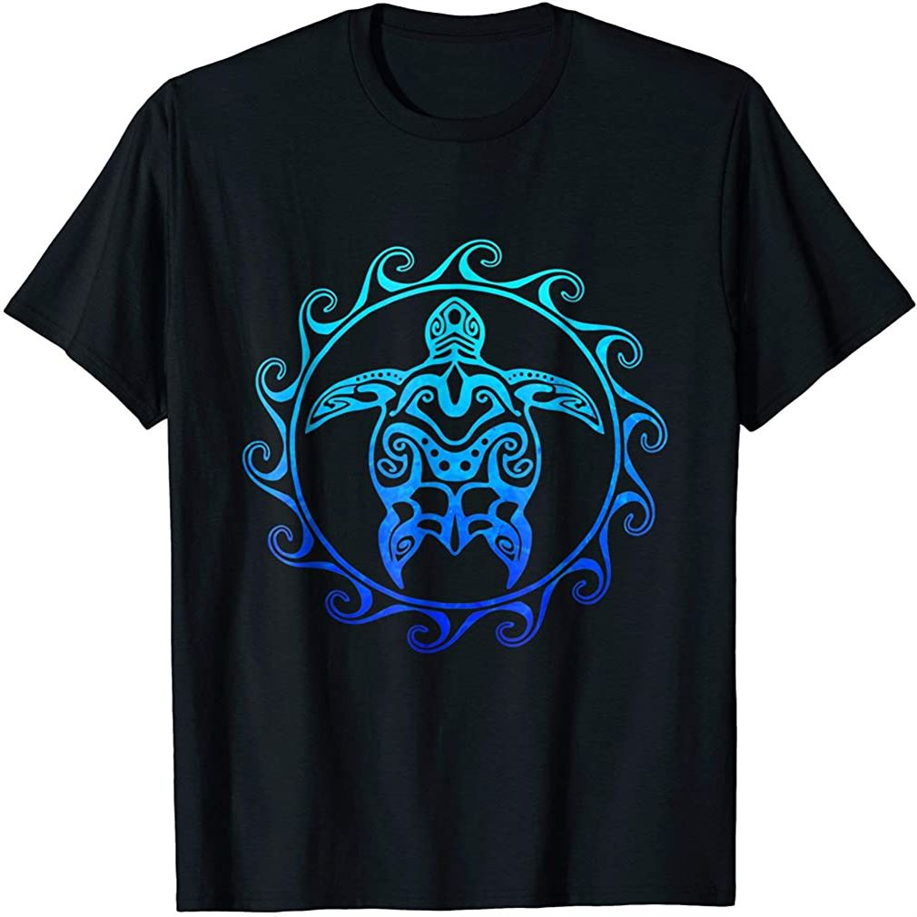 Ocean Blue Tribal Hawaiian Sea Turtle T-shirt Plus Size Up To 5xl