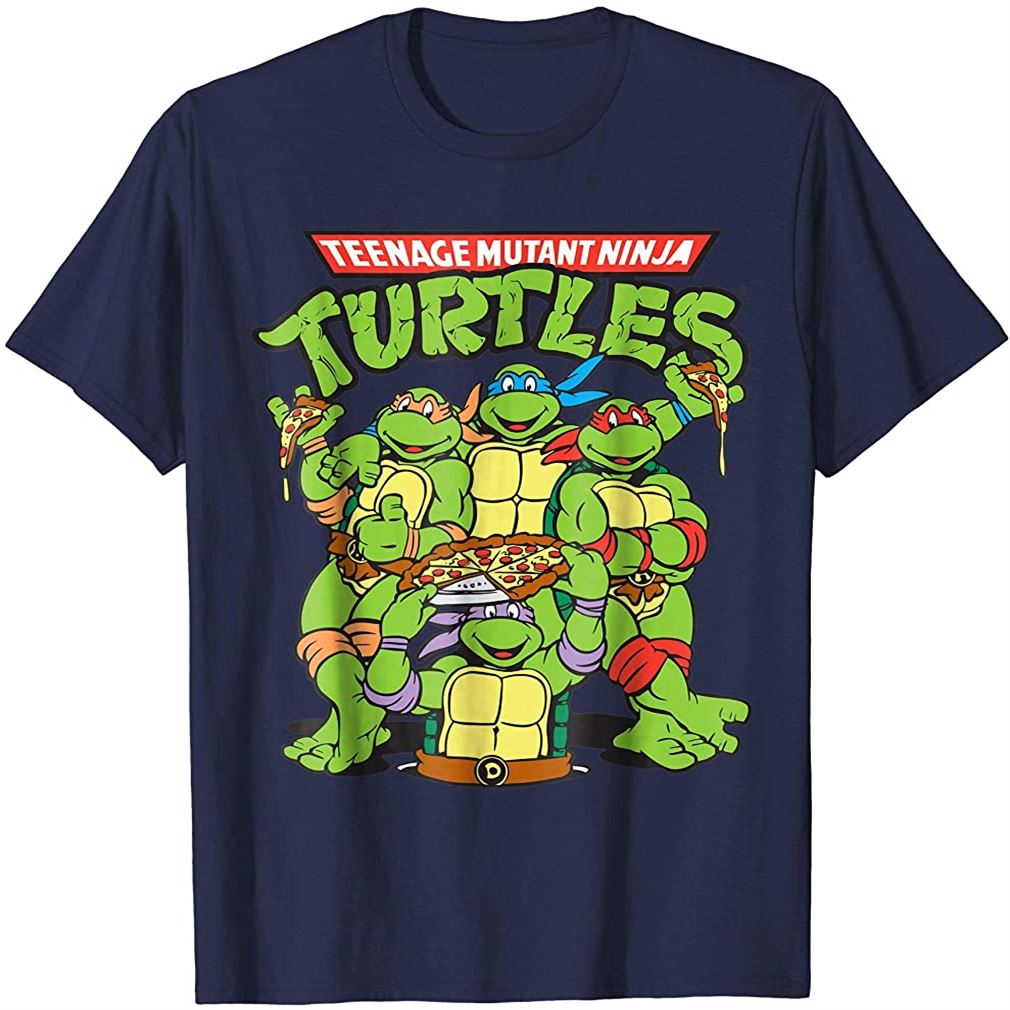 Retro Tmnt Group With Pizza T-shirt Size Up To 5xl