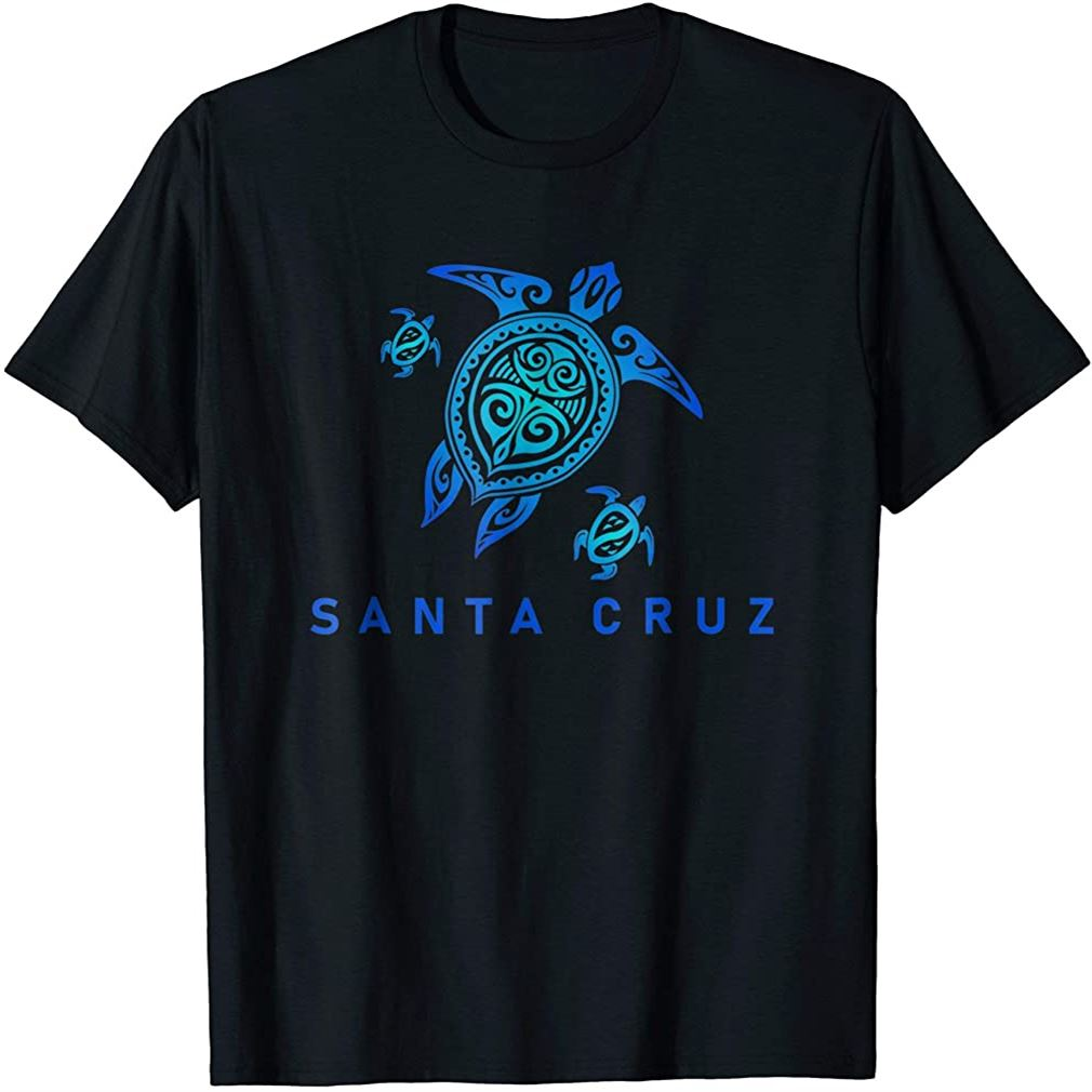 Santa Cruz California T-shirt Sea Blue Tribal Turtle Size Up To 5xl