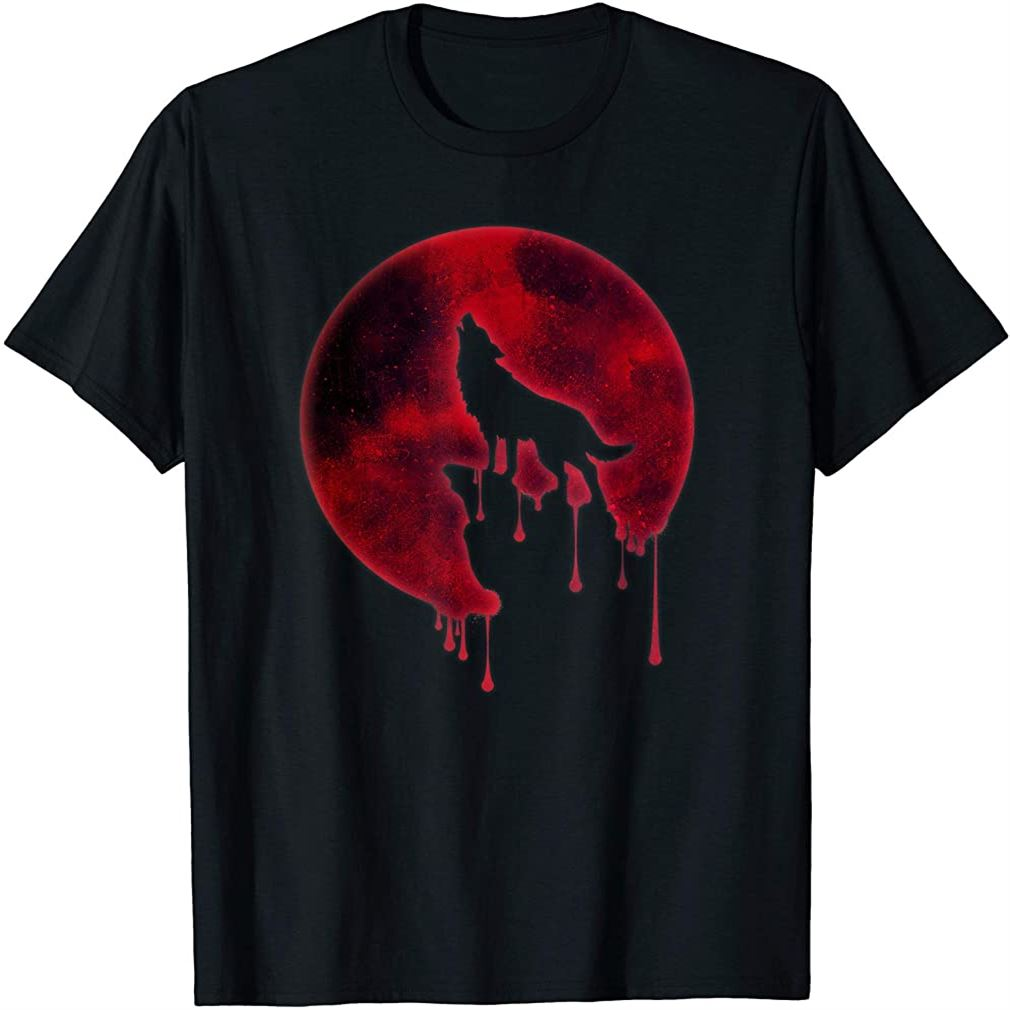 Full Moon T-shirt Howling Wolf Galaxy Blood Moon Eclipse Tee Size Up To 5xl
