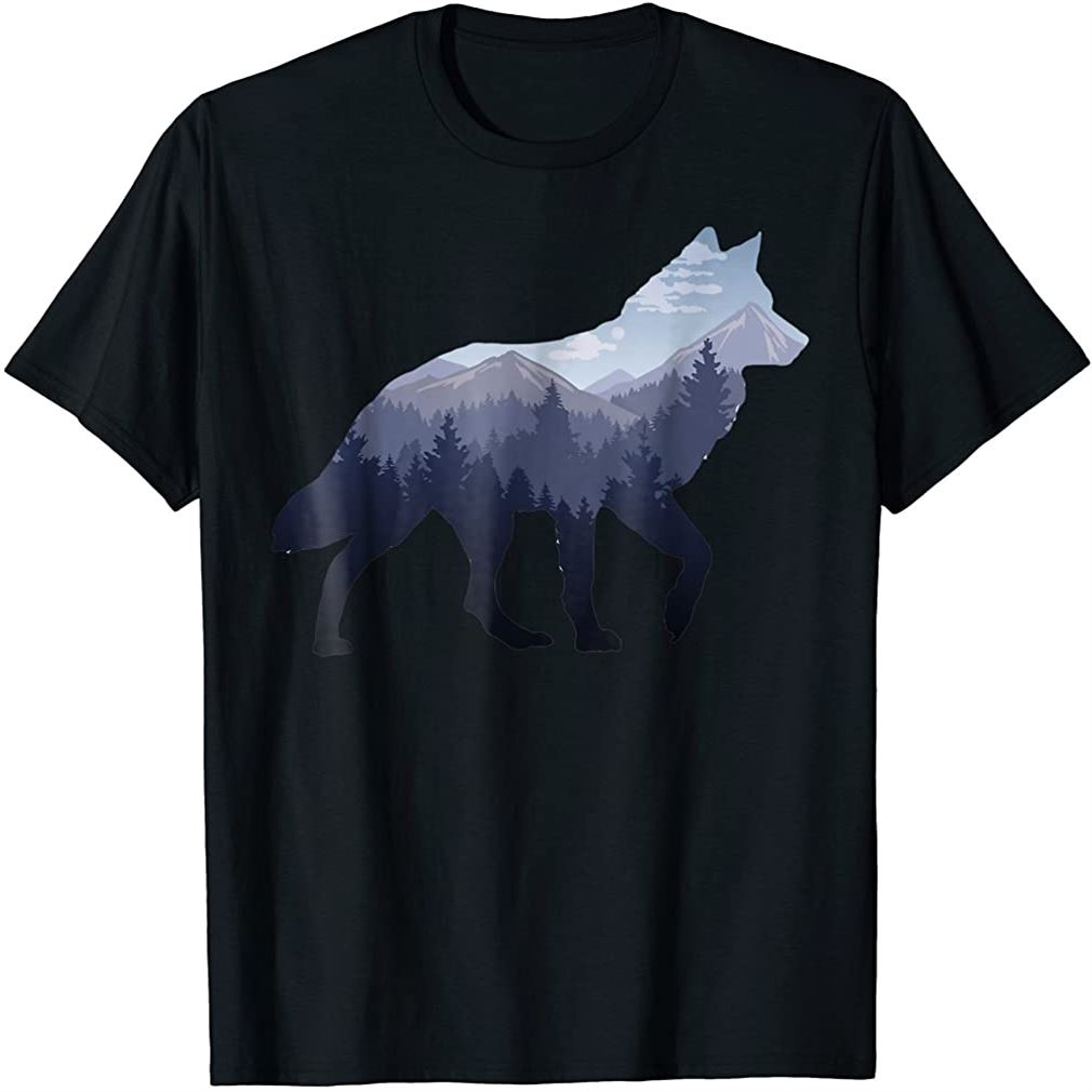 Lone Wolf Survives The Mountain Silhouette Art T-shirt Size Up To 5xl