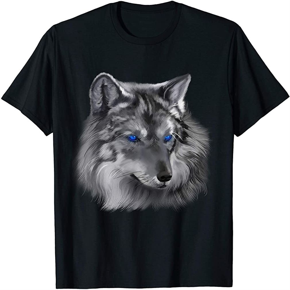 Painted Wolf Blue Eyes T-shirt Wolves Tee Shirt Gifts Size Up To 5xl