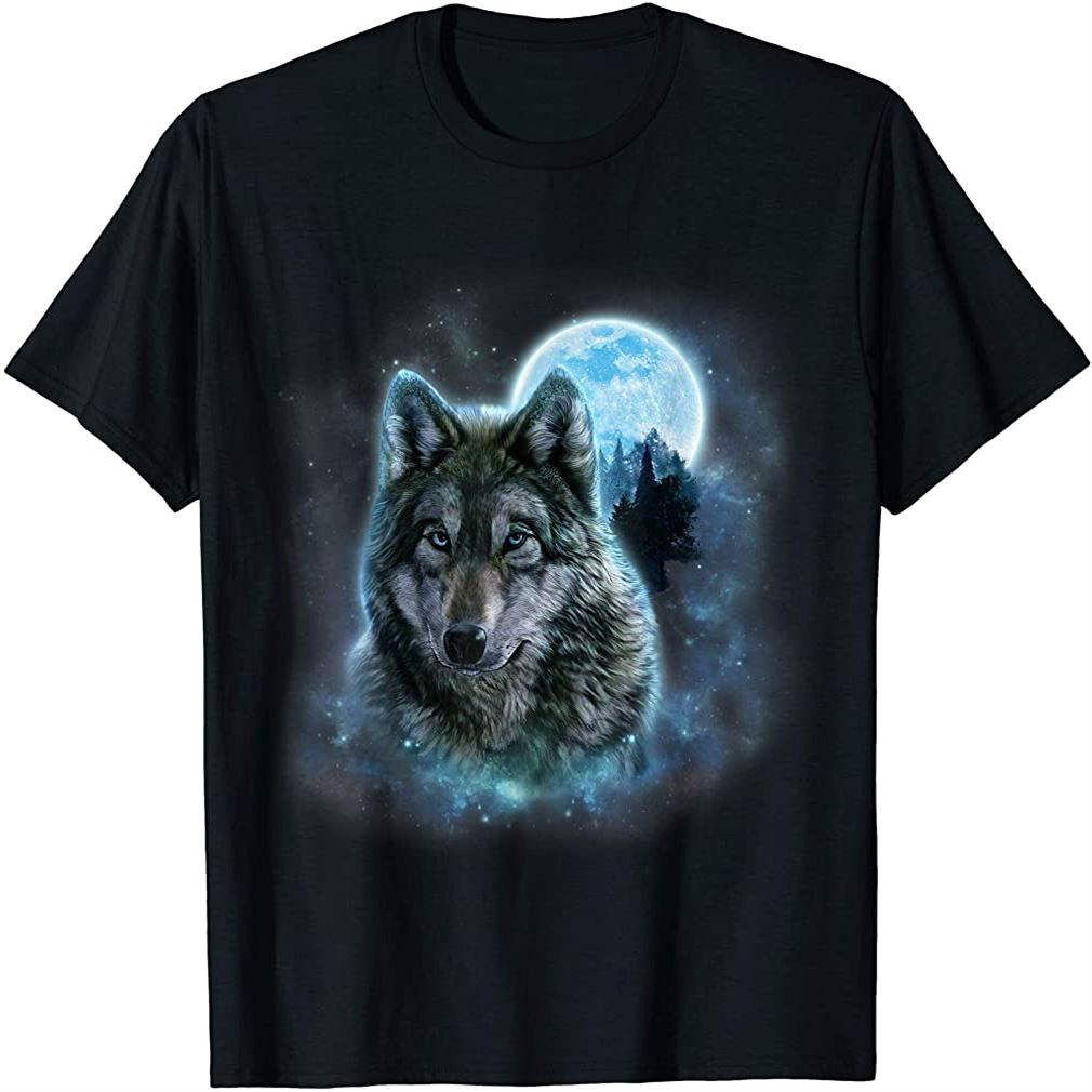 T-shirt Grey Wolf Hunting Ground Icy Moon Forest Galaxy Size Up To 5xl