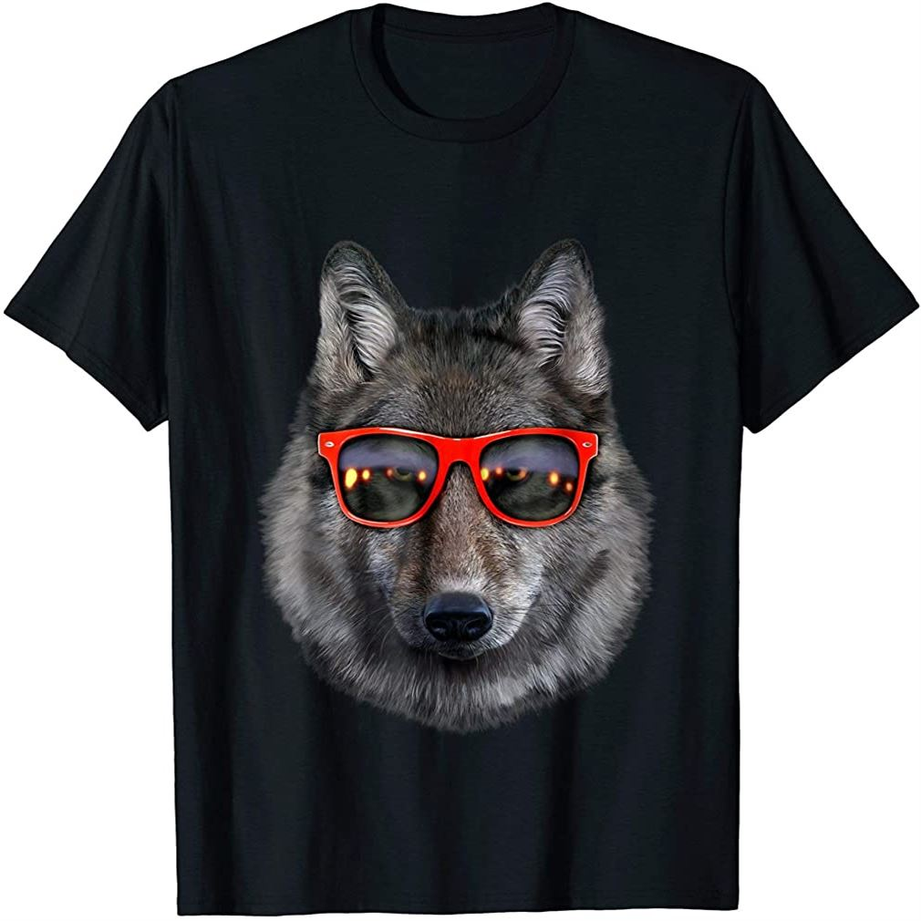 T-shirt Wolf In Retro Sunglass Frame Wolves Size Up To 5xl
